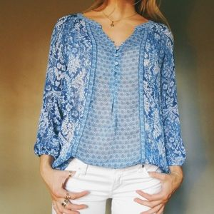 Patterned Sheer Blue Blouse